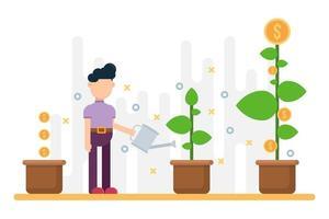 concept de succès commercial, arbre de plus en plus d'argent en pot