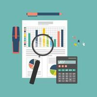 concept d'audit et de processus fiscal vecteur