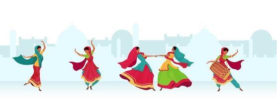 danse de célébration de Diwali vecteur
