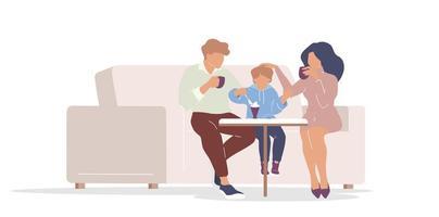 famille au café vecteur
