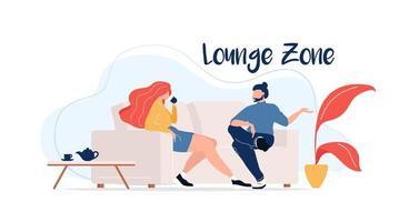 zone lounge sur canapé vecteur