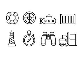 pack d'icônes de port vecteur