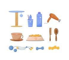 ensemble d & # 39; objets de soins pour animaux de compagnie