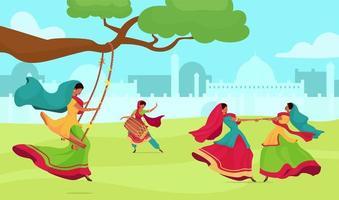 célébration du festival teej vecteur