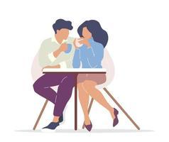 couple buvant du thé vecteur