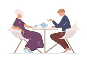 homme et femme buvant du thé vecteur