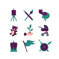 jeu d'icônes de passe-temps artistique vecteur