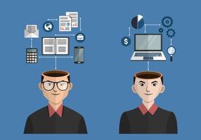 Affaires, ouvert, esprit, concept, vecteur, Illustration
