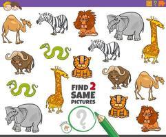 trouver deux mêmes animaux jeu éducatif pour les enfants vecteur