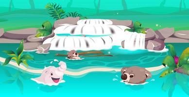 animaux de la jungle nageant vecteur