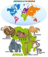 dessin animé éducatif d'animaux africains drôles vecteur