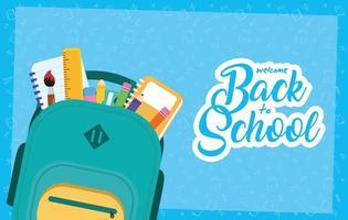 affiche de la rentrée scolaire avec sac à dos et fournitures vecteur