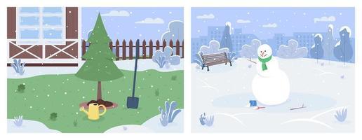 ensemble de paysages d'hiver vecteur