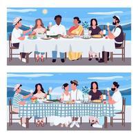 ensemble de banquet grec vecteur