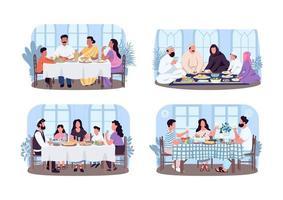 dîners traditionnels en famille vecteur