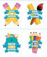 affiche de retour à lécole sertie de fournitures scolaires