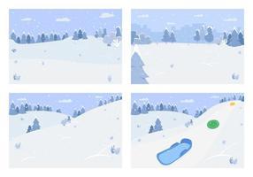 paysage de neige d'hiver vecteur