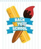 affiche de retour à l & # 39; école avec fournitures scolaires