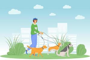 chien marchant dans le parc vecteur