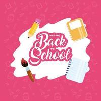 affiche de retour à l & # 39; école avec du matériel scolaire