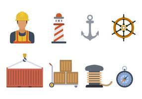 Vecteurs plats portuaires