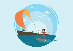 Illustration de kitesurf gratuite vecteur