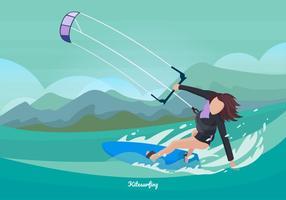 Femme, kitesurf, vecteur, Illustration vecteur
