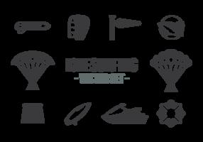 Vecteur d'icônes de kitesurf
