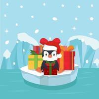 mignon pingouin avec boîte-cadeau vecteur