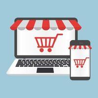 concept en ligne de boutique ordinateur portable et smartphone