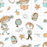 thème de l'école avec des accessoires scolaires pour filles et garçons.