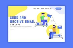 modèle de page de destination avec concept d'envoi et de réception d'e-mails