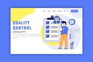 concept de design plat de page de destination de contrôle qualité vecteur