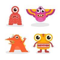 ensemble de monstre de conception de mascotte de personnage vecteur