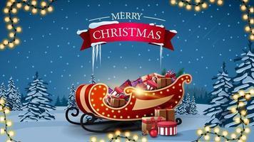 carte postale de voeux avec traîneau de père Noël avec des cadeaux vecteur