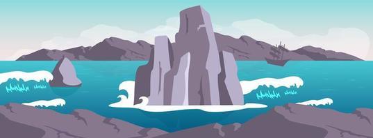 bannière de scène de paysage marin vecteur