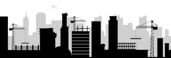 bâtiment de la ville silhouette noire vecteur