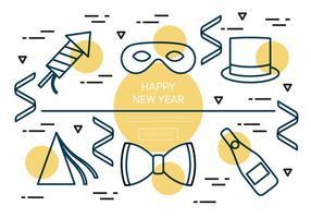 Icônes vectorielles gratuites du nouvel an linéaire