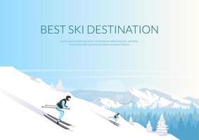 meilleure bannière de destination de ski vecteur