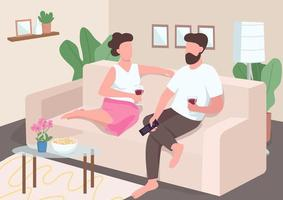 couple ayant un rendez-vous à la maison vecteur