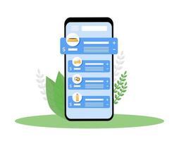écran de l'application smartphone animalerie vecteur
