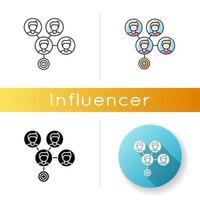 icône d'effet de masse. connexion aux médias sociaux.