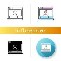icône de vlogger. influenceur sur la plateforme de médias sociaux. vecteur