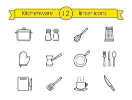 ensemble d'icônes linéaires ustensiles de cuisine.