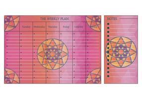 Vecteur de calendrier hebdomadaire imprimable