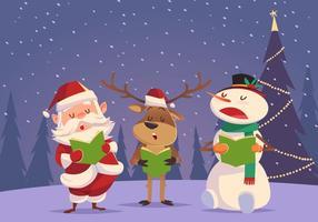 Père Noël bonhomme de neige et chanteurs de rennes vecteur