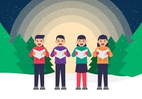 Joyeux enfants chantant des chants de Noël vecteur