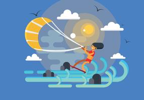 Vecteur de kitesurf gratuit