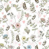 Doodle motif de fleurs fleurs mignonnes sur fond blanc.