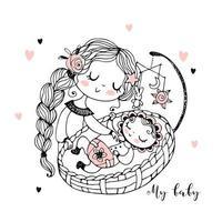 maman endort le bébé vecteur